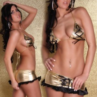 SEXY 2-TLG GOGO-SET TOP + ROCK METALLIC-LOOK GOLD/SCHWARZ