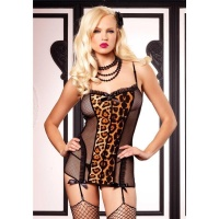 SEXY 2 PCS LEG AVENUE FISHNET GARTER DRESS LINGERIE-SET BLACK/LEOPARD