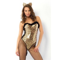 SEXY 2 PCS LEOPARDESS COSTUME GOGO SET CLUBWEAR GOLD/BLACK