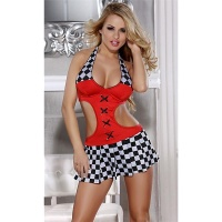 SEXY 2-PCS RACING OUTFIT GRID GIRL COSTUME GOGO CLUBWEAR RED