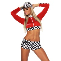 SEXY 2 PCS RACING-OUTFIT GOGO COSTUME RED/WHITE Onesize (UK 10/12)