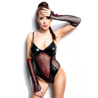 SEXY 2 PCS WET LOOK BODY LATEX-LOOK GOGO CLUBWEAR BLACK