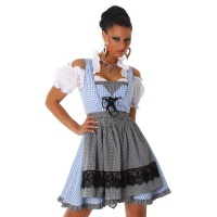 SEXY 3 PCS DIRNDL COSTUME DRESS BLOUSE AND APRON BLUE