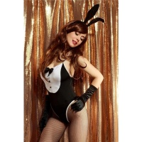 SEXY 3 PCS BUNNY COSTUME GOGO SET CLUBWEAR BLACK/WHITE