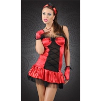 SEXY 3 PCS LADY IN RED COSTUME WITH TULLE RED/BLACK
