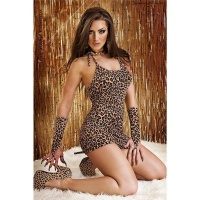 SEXY 3 PCS LEOPARDESS OUTFIT GOGO CLUB LEO-BROWN Onesize (UK 8,10,12)