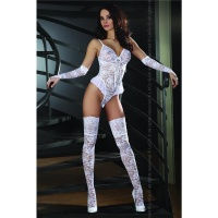 SEXY 3 PCS LACE LINGERIE SET BODY STOCKINGS GAUNTLETS GOGO WHITE UK 12/14 (M/L)