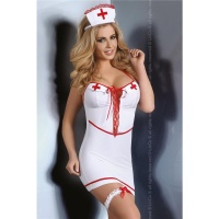 SEXY 4 PCS NURSE COSTUME OUTFIT GOGO SET CLUBWEAR WHITE/RED