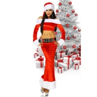 SEXY 4 PCS SANTA BABE COSTUME FANCY DRESS CHRISTMAS...