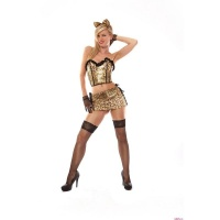 SEXY 5 PCS LEOPARDESS COSTUME GOGO SET CLUBWEAR LEO...