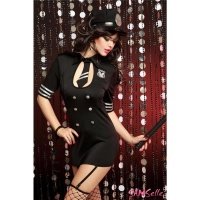 SEXY 6 PCS POLICE OUTFIT STRIPPER-SET GOGO BLACK UK 8/10 (S/M)