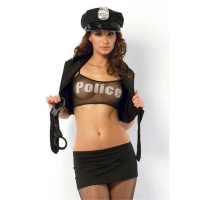 SEXY 6 PCS POLICE OUTFIT STRIPPER-SET CLUBBING BLACK