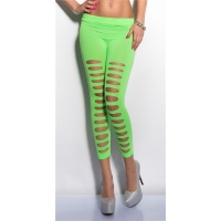 SEXY 7/8 LEGGINGS WITH CUT-OUTS CLUBWEAR NEON-GREEN Onesize (UK 8,10,12)