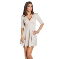 SEXY A-LINE MINIDRESS EVENING DRESS BABYDOLL BEIGE UK 12 (M)
