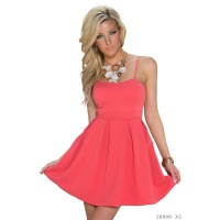 SEXY A-LINE STRAPPY MINI DRESS BABYDOLL CORAL Onesize (UK 8,10,12)
