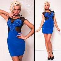 SEXY EVENING DRESS MINIDRESS CHIFFON RHINESTONES BLUE/BLACK