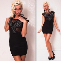 SEXY EVENING DRESS MINI DRESS CHIFFON RHINESTONES BLACK UK 8/10 (S/M)