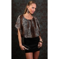 SEXY EVENING DRESS MINIDRESS LEOPARD-LOOK BLACK/BEIGE-BROWN