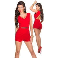 SEXY SLEEVELESS SKORT OVERALL PLAYSUIT BACKLESS RED