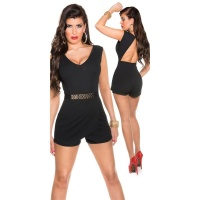 SEXY SLEEVELESS SKORT OVERALL PLAYSUIT BACKLESS BLACK UK 12 (M)