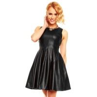 SEXY SLEEVELESS A-LINE MINIDRESS MADE OF IMITATION LEATHER BLACK