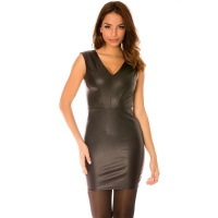 SEXY SLEEVELESS MINIDRESS MADE OF IMITATION LEATHER BLACK