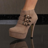 SEXY PLATFORM ANKLE BOOTS HIGH HEELS VELOUR WITH BUCKLES...