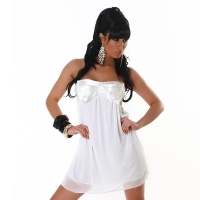 SEXY BABYDOLL BANDEAU MINIDRESS MADE OF CHIFFON CREAM
