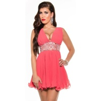 SEXY BABYDOLL CHIFFON MINIDRESS EVENING DRESS PARTY CORAL UK 8