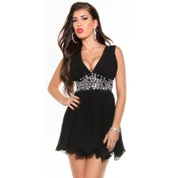 SEXY BABYDOLL CHIFFON MINIDRESS EVENING DRESS PARTY BLACK UK 12