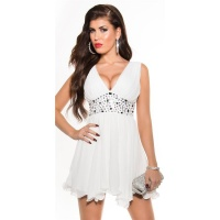 SEXY BABYDOLL CHIFFON MINIDRESS EVENING DRESS PARTY WHITE