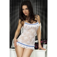 SEXY BABYDOLL MADE OF LACE DESSOUS GOGO WHITE/BLUE