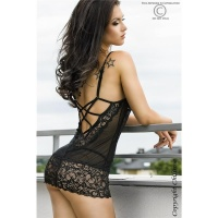 SEXY BABYDOLL WITH LACE CHIFFON DESSOUS GOGO BLACK UK 8/10 (S/M)