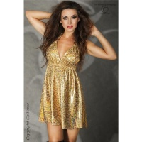 SEXY BABYDOLL HALTERNECK MINIDRESS IN LEOPARD-LOOK WITH GLITTER GOLD UK 10/12 (S/M)