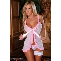 SEXY BABYDOLL NEGLIGEE WITH SWEET FRILLS LINGERIE WHITE/PINK