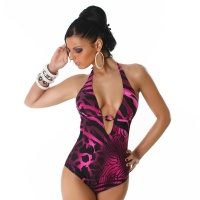 SEXY SWIMSUIT BEACHWEAR FUCHSIA / BLACK UK 10