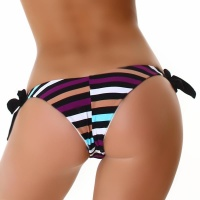 SEXY TIE UP BIKINI BOTTOM PANTY WITH STRIPES BEACHWEAR MULTICOLOR Onesize (UK 8,10,12)