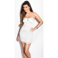 SEXY LACE EVENING DRESS MINI DRESS WITH RHINESTONES CREAM