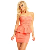 SEXY BANDEAU EVENING MINIDRESS WITH PEPLUM CORAL