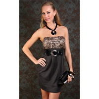 SEXY BANDEAU EVENING DRESS MINI DRESS SNAKE-LOOK GREY/BROWN