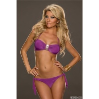 SEXY BANDEAU BIKINI TO TIE WITH GLAM BUCKLE BEACHWEAR VIOLET