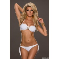 SEXY BANDEAU BIKINI TO TIE WITH GLAM BUCKLE BEACHWEAR WHITE