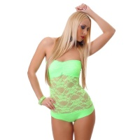 SEXY BANDEAU BODY MADE OF TRANSPARENT LACE NEON-GREEN Onesize (UK 8,10,12)