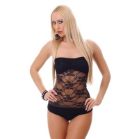 SEXY BANDEAU BODY MADE OF TRANSPARENT LACE BLACK Onesize (UK 8,10,12)