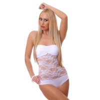 SEXY BANDEAU BODY MADE OF TRANSPARENT LACE WHITE Onesize (UK 8,10,12)