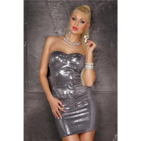 SEXY GLAMOUR PARTY MINIDRESS WITH SEQUINS AND PEPLUM SILVER