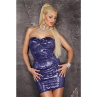 SEXY GLAMOUR PARTY MINIDRESS WITH SEQUINS AND PEPLUM VIOLET