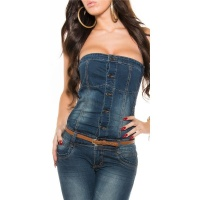 SEXY BANDEAU JEANS-OVERALL JUMPSUIT WITH BELT DARK BLUE UK 10 (S)