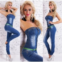 SEXY BANDEAU JEANS OVERALL MIT STRASS INKL. GÜRTEL...