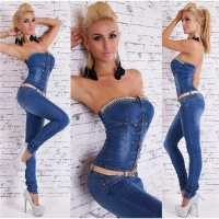 SEXY BANDEAU JEANS-OVERALL JUMPSUIT WITH ZIPPER AND BELT...